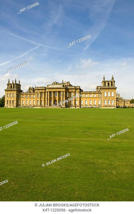 The South facade of Blenheim Palace in autumn sunshine  South lawn in foreground