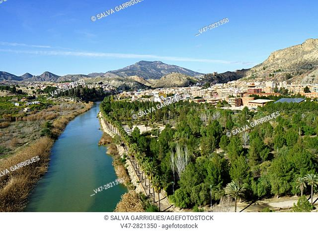 Panoramica of the river Segura and the town of Blanca, Murcia, Spain, Europe