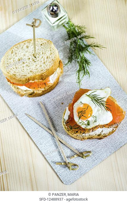 Baguette with salmon and a fried quail's egg