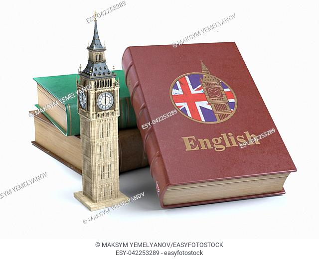 Studying and learn English concept. Book with flag of Great Britain and Big Ben tower isolated on white. 3d Iluustration