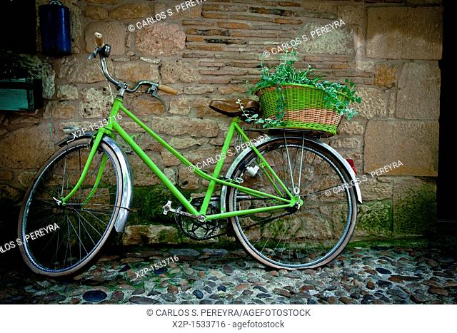 Bicycle in the old town of Bergerac, Aquitaine, Dordogne, France
