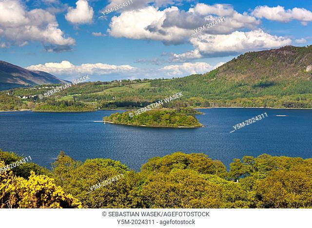 View across Derwent Water towards Keswick, Lake District National Park, Cumbria, England, UK, Europe