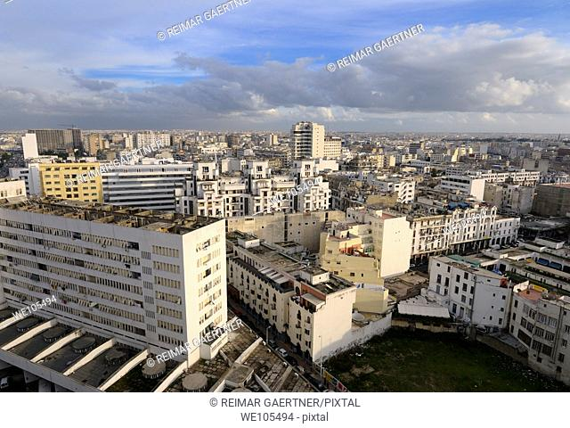 Evening view looking across the white Casablanca cityscape, Morocco