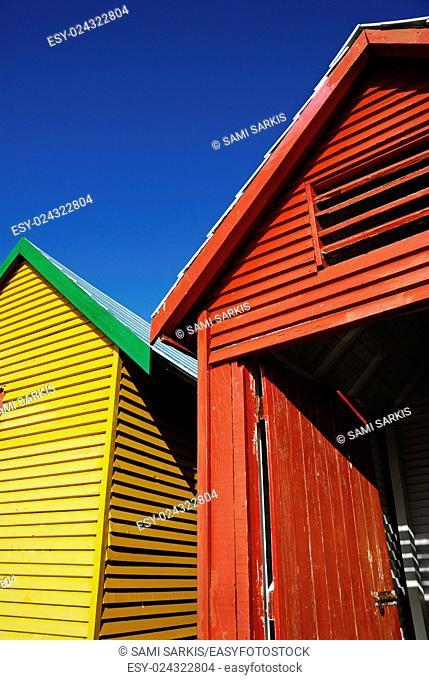 Multicoloured beach huts on Muizenberg beach, South Western Cape, South Africa