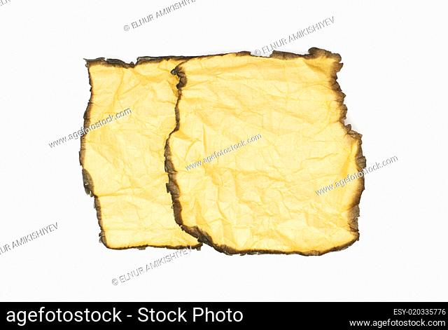 Burnt paper isolated on the white background