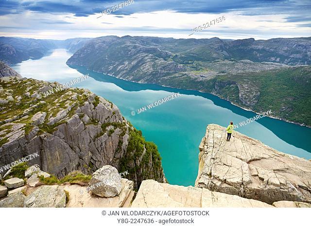 Preikestolen with view at Lysefjorden, Norway