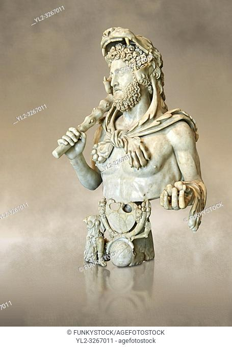 Roman marble bust of Commodus as Hercules. Circa191-192 AD found in an underground chamber in the Horti Lamiani area of Rome