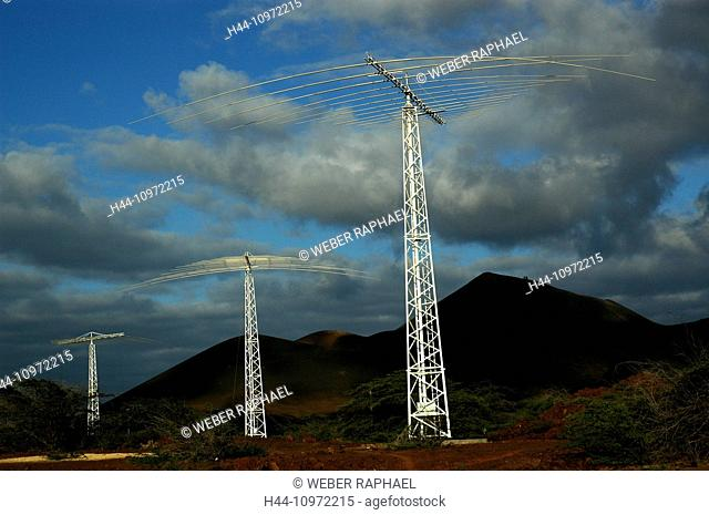 Ascension, Ascension Island, volcano, mountain, clouds, antennas, one boat, communication