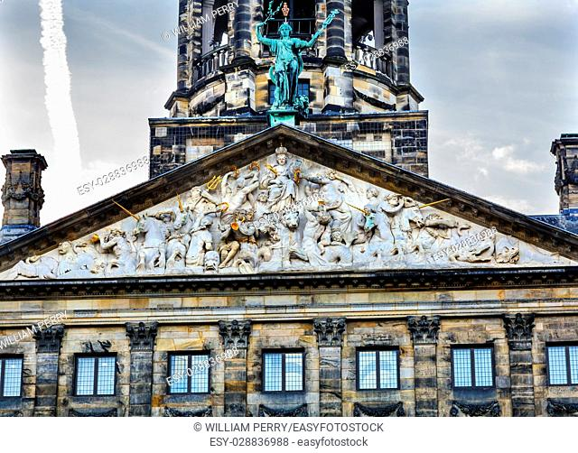 Neptune Frieze Royal Palace Town Hall Amsterdam Holland Netherlands. Opened up as a town hall in 1655