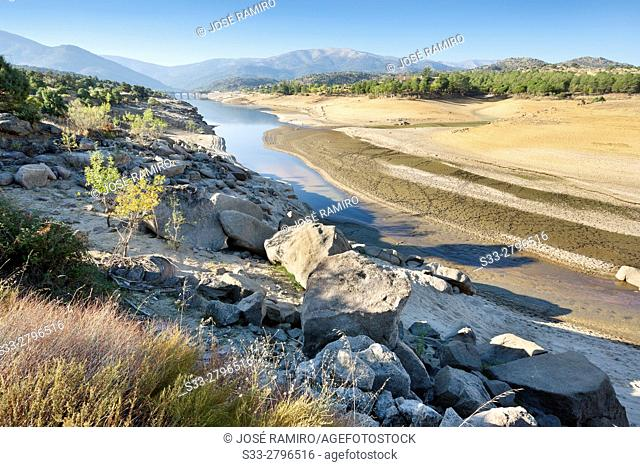 Drought at Burguillo reservoir. Avila. Castilla Leon. Spain. Europe