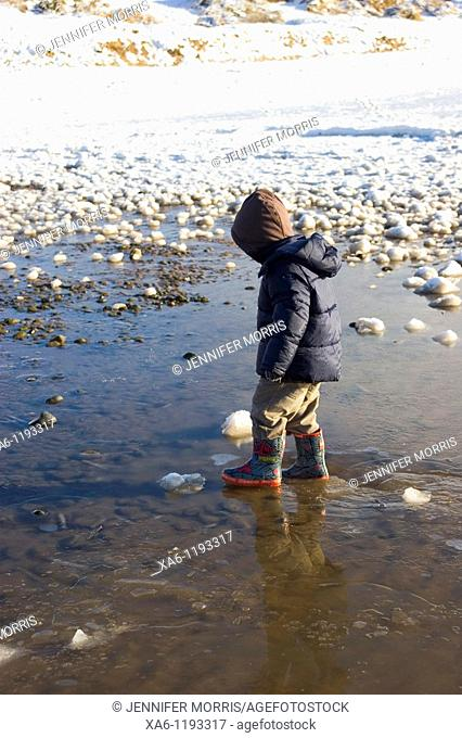 A young boy walks in an icy puddle on a snowy beach