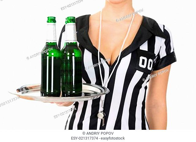 Close-up Of Female Referee Holding Drinks With Tray Over White Background