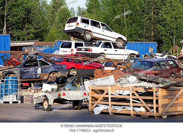 Pile of cars going to recycling. Location Suonenjoki Finland Scandinavia Europe