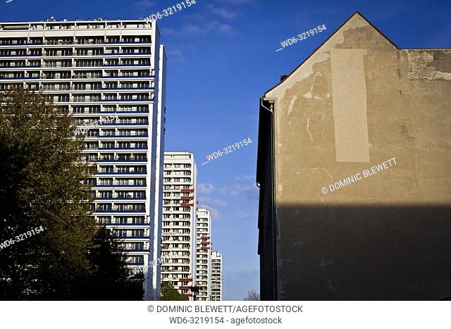 Old and new apartment blocks in Berlin, Germany