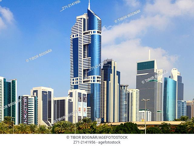 United Arab Emirates, Dubai, Sheikh Zayed Road, skyline, skyscrapers,