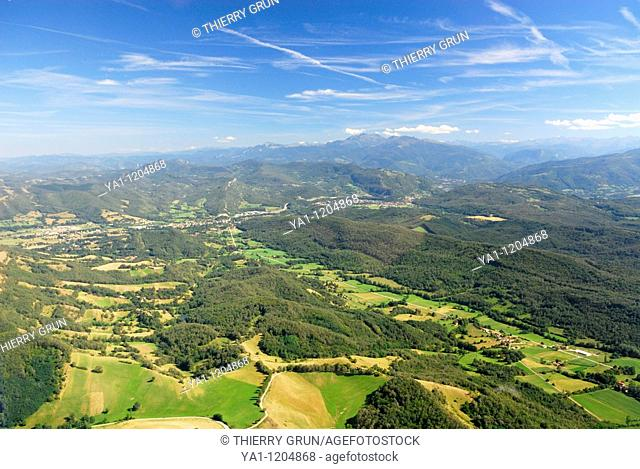 Aerial view viewed from west of Ariège valley near Crampagna and Garrigou, Ariege, Midi Pyrenees, France