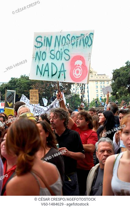 -Demonstrations of Indignants Movement 15M- Barcelona (Spain)