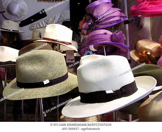 Cruz Palacios hat maker shop selling famous hats. City of Sevilla. Andalucia. Spain
