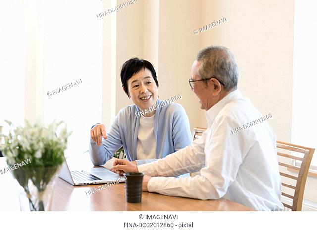 Senior couple using laptop together