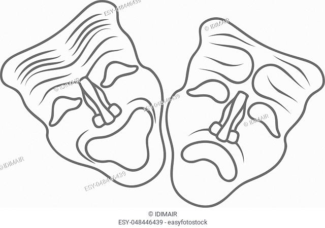 Theatrical masks isolated on white background Vector Illustration EPS10