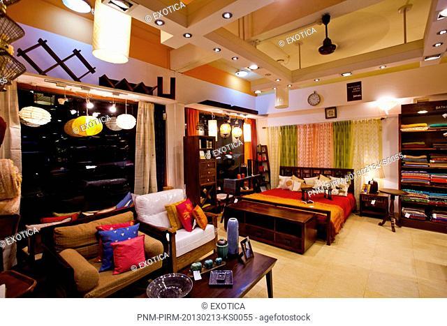 Furniture for sale in a store, FabIndia, Candolim, North Goa, Goa, India