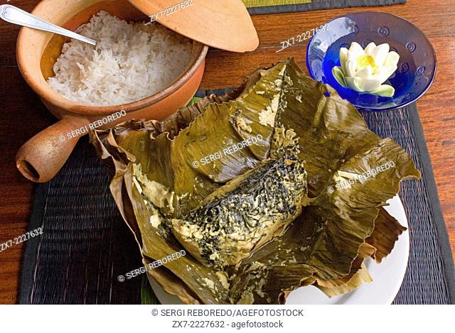 Typical cambodian food: Amok fish. Cambodia. Siem Reap. Individual portion of Fish Amok Cambodian cuisine