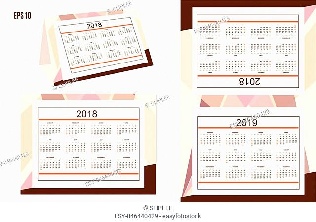 Template of the classic american calendar for desktop year 2018, 2019 on the abstract background. English language. Week starts on Sunday
