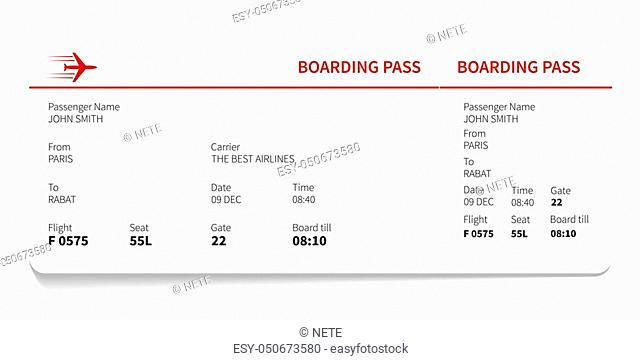 Red and white boarding pass, Vector illustration