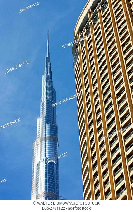 UAE, Dubai, Downtown Dubai, The Address Dubai Mall Hotel and Burj Khalifa, world's tallest building as of 2016