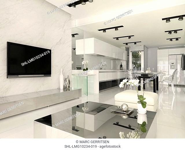 Living room kitchen and dining area in modern home