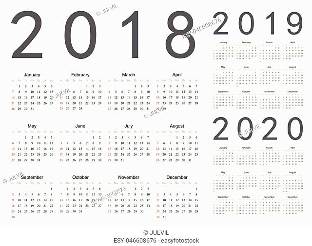 Set of european 2018, 2019, 2020 year vector calendars. Week starts from Sunday