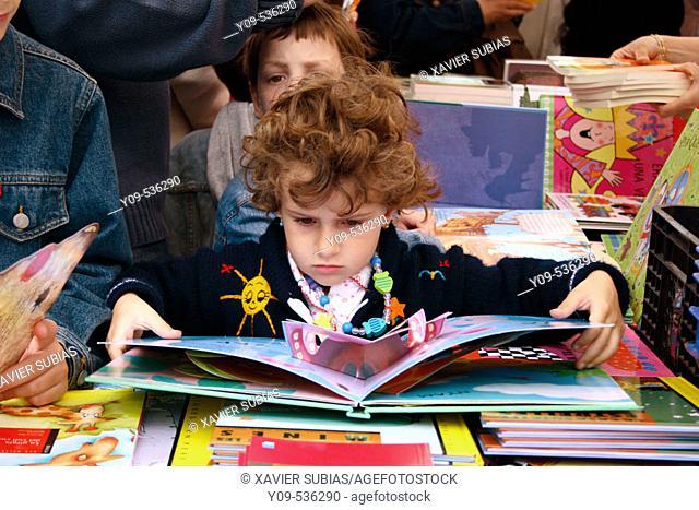 Book stall during Sant Jordi festival. Barcelona. Spain