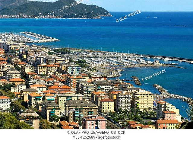 View over Chiavari at the Ligurian Coast, North West Italy