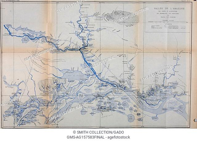 "Color illustration of a map of the Amazon River basin with an inset key and conversion units, captioned """"Vallee de l'Amazone de Faro a Alemquer Rio Trombetas -..."
