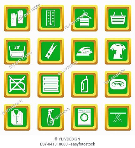Laundry icons set in green color isolated illustration for web and any design