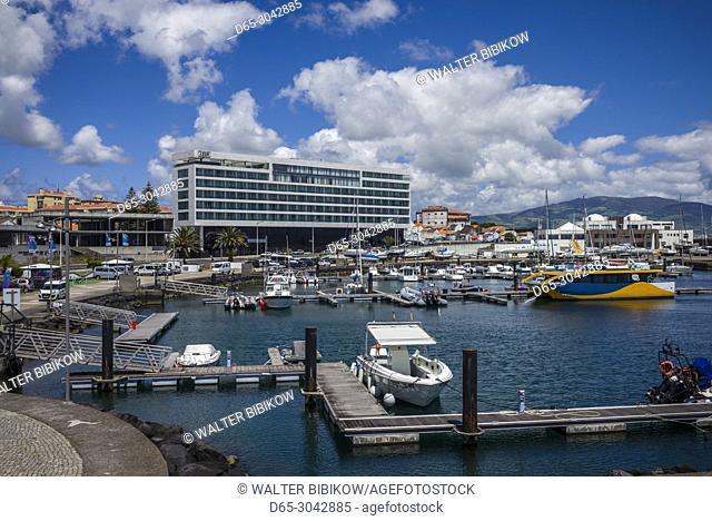 Portugal, Azores, Sao Miguel Island, Ponta Delgada, marina area, Hotel Azor