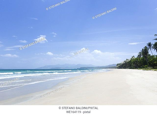 Long beach, an eighteen kilometre stretch of white sand, San Vicente, Palawan island, Philippines