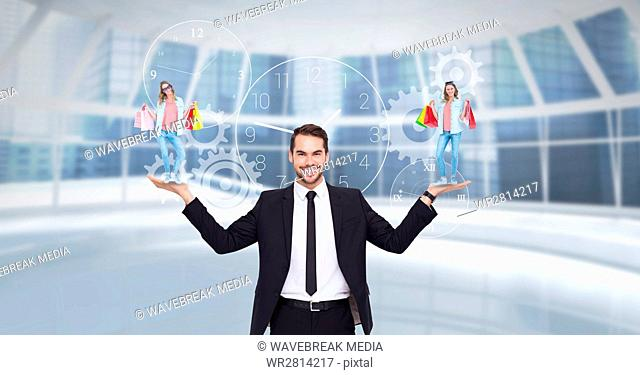 Digital composite image of businessman carrying woman with shopping bags