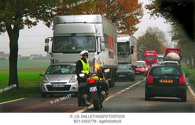 Heavy traffic on 'route regionale' by Abbeville, Somme, Picardy, France