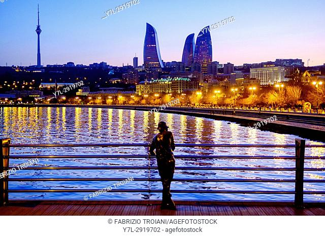 Fisherman statue on the Baku pier, Azerbaijan
