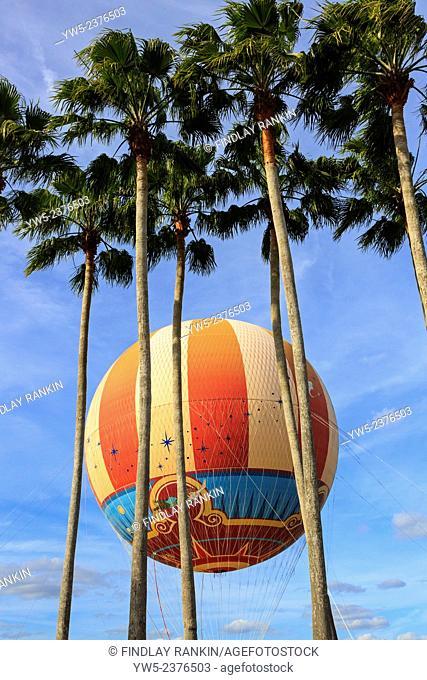 Colourful aerial balloon and palm trees at Downtown Disney, Orlando, Florida, USA