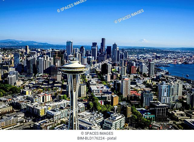 Aerial view of Space Needle in Seattle cityscape, Washington, United States