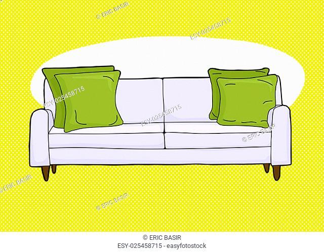 Cartoon of single love seat sofa with corner cushions