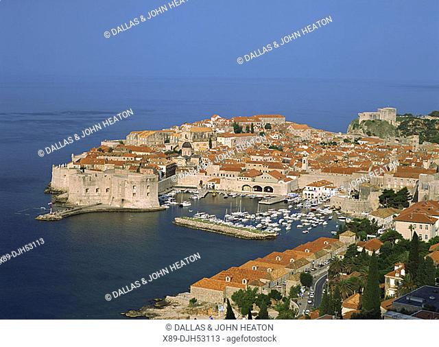 Croatia, Dubrovnik, Old Town, Old Harbour, City Wall, Adriatic sea