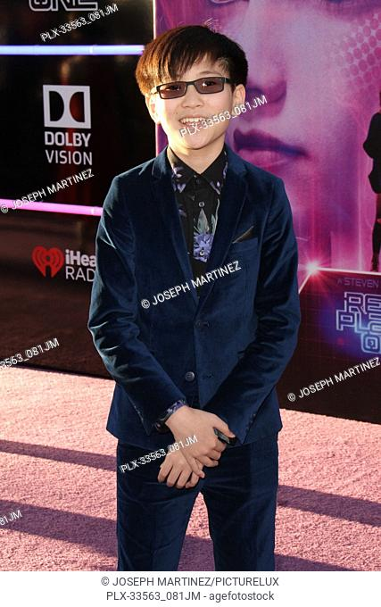 """Philip Zhao at the World Premiere of Warner Bros' """"""""Ready Player One"""""""" held at the Dolby Theater in Hollywood, CA, March 26, 2018"""