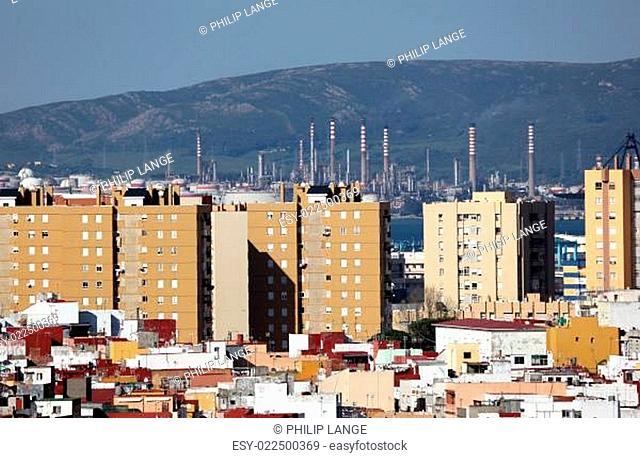 City of Algeciras with oil refinery in background. Andalusia Spain