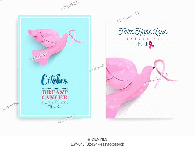 Breast cancer awareness month poster set with pink hand drawn dove bird holding ribbon for help and support. EPS10 vector