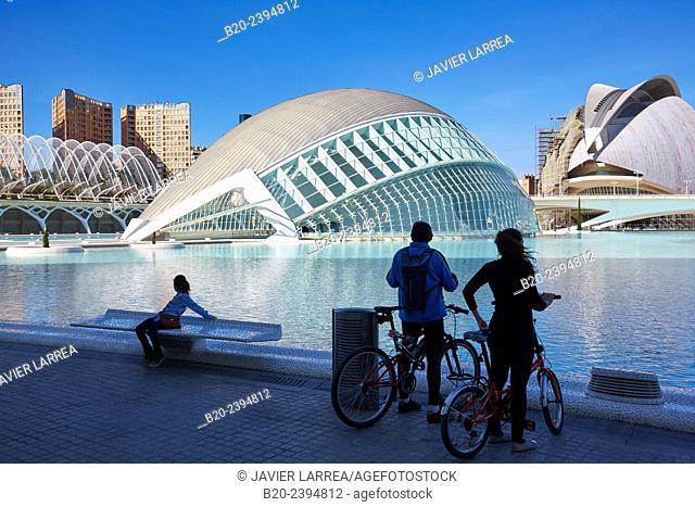 Hemisferic and Queen Sofia Palace of the Arts. CAC. Architect Santiago Calatrava, Ciudad de las Artes y de las Ciencias. City Of Arts and Sciences