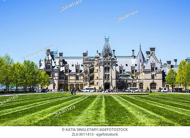 The green grass and field at the Biltmore House and Gardens, a popular tourist attraction, built by George Vanderbilt in 1895 is one of America's largest home