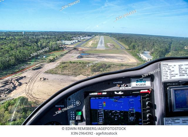 Approaching a runway in South Carolina USA from the cockpit of a Searey seaplane